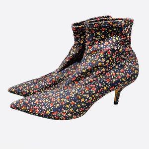 Zara Woman Floral Fabric Heel Boots